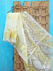 Cream Kora Silk Saree With Zari Work - KAASI