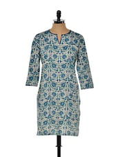 Green And Blue Printed Long Kurta - Nanni Creations