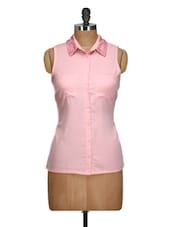 Pink Shirt With Embellished Collar - Oxolloxo