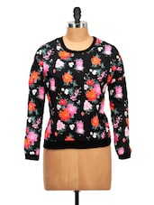 Floral Print Black Polyester Top - Oxolloxo