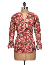 Rose Print Poly Georgette Top - Oxolloxo