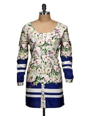 Floral Print Polyester Tunic - Oxolloxo