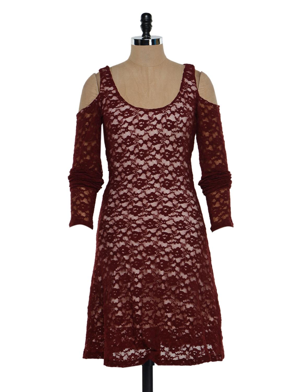 Maroon Lace Dress With Shoulder Cuts - Eavan