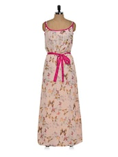 Printed Pink Palette Long Dress - Eavan