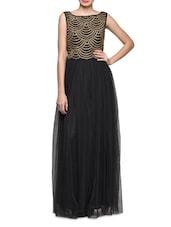 Black Flared Embellished Gown - Eavan