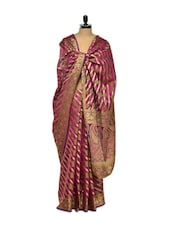 Pink Cotton Silk Saree With Gold Undertones - Bunkar