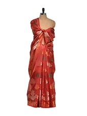 Floral Red Cotton Silk Saree - Bunkar