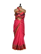 Pink Cotton Silk Saree With Paisley Border - Bunkar