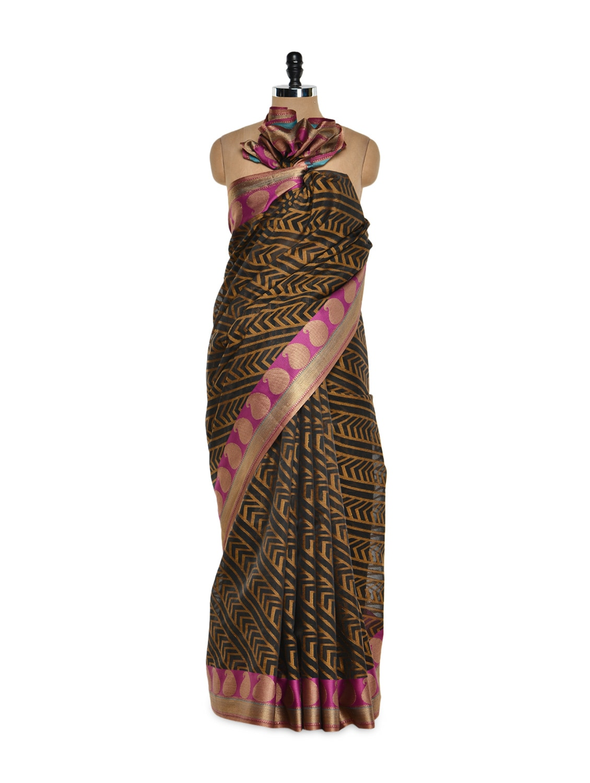 Black Cotton Silk Saree With Zari Work - Bunkar