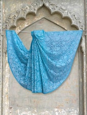 Light Blue Chikankari Saree - Ada