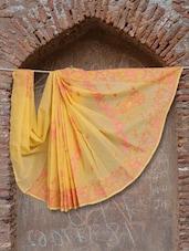 Soft Yellow & Pink Chikankari Saree - Ada