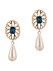 Gold And White Teardrop Earrings With Blue Stone - Luxor
