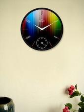 Black Wall Clock With Rainbow Stripes - Regent