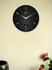 Fabulous Black Wall Clock With Black Striped Wooden Pattern - Regent