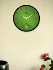 Black Wall Clock With Green Striped Pattern - Regent