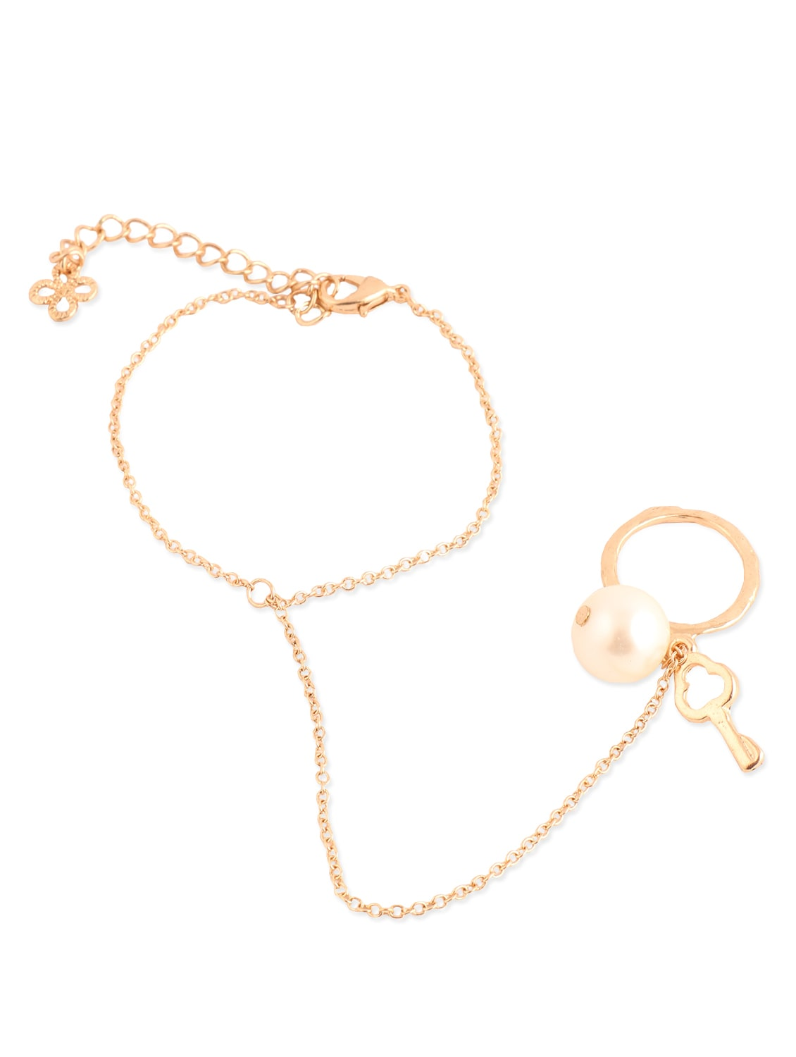 Amazing Gold Bracelet With Gorgeous Pearl Ring With Key - Addons