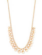 Stunning Gold Crystal Studded Necklace With Dazzling Pearls - Addons