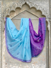 Blue & Purple Chikankari Saree - Ada