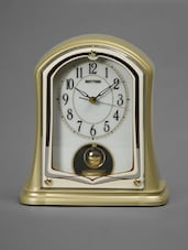 Gold And White Vintage Table Clock - Rhythm