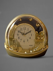 Gold Domed Contemporary Motion Table Clock - Rhythm