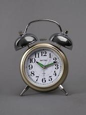Gold Tone Bell Alarm Table Clock - Rhythm