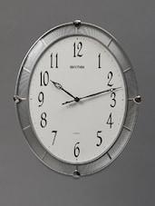 Silver Retro Art Deco Wall Clock - Rhythm