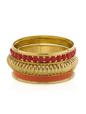 Vintage Red Golden Bangles - Voylla