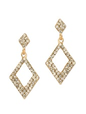 Elegant Gold Plated Drop Earrings Studded With Crystals - Voylla