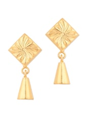 Gold Plated Engraved Drop Earrings - Voylla