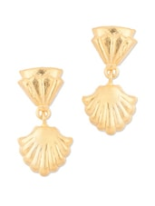 Gold Plated Earrings With Clam Shell Design - Voylla