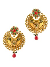 Gold Plated Festive Earrings With Stones - Voylla