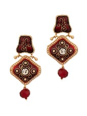Gold Plated Meenakari Rhombic Earrings - Voylla