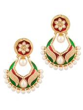 Flower And Leaf Design Chandbali Earrings - Voylla