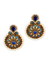 Gold Plated Blue Floral Earring - Voylla
