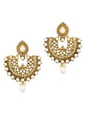 Drop Design Dangler Earrings With Pearl - Voylla