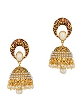 Gold Plated Jhumki Earrings With Pearls - Voylla