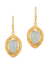 Tear Drop Style Bluestone Studded Earrings - Voylla