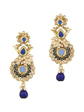 Festive Earrings Brilliantly Decorated With Stones And Pearl Beads - Voylla