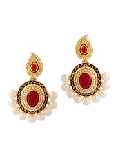 Dangler Earrings With Red Enamel Work And Pearls - Voylla