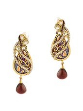 Peacock Inspired Dangle Drop Earrings With Gold Plating - Voylla
