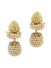 Pair Of Festive Drop Earrings Adorned With Shiny CZ And Pearl Beads - Voylla