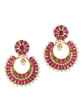 Pink Floral Circular Dangle Earrings With Gold Plating - Voylla