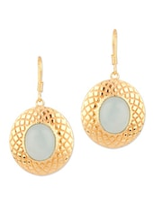 Floral Style Blue Stone Studded Earrings - Voylla