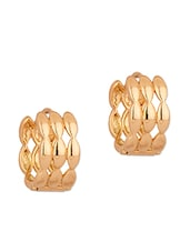 Pair Of Gold Tone Pretty Hoop Earrings - Voylla