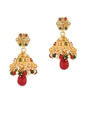 Gold Plated Jhumki With Crystals And Pearls - Voylla