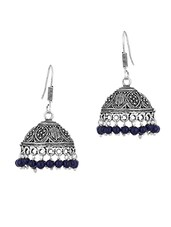 Enthralling  Jhumki Earrings With Blue Beads - Voylla