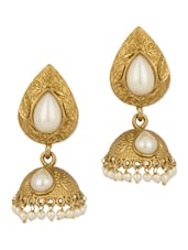 Gold Plated Pearl Embellished Earrings - Voylla