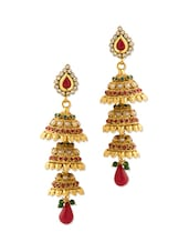 Festive Jhumki Earrings With Pearls - Voylla
