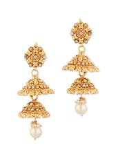 Festive Jhumki Earrings With Pearl Drops - Voylla