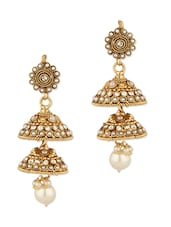 Gold Plated Jhumki Earring With Gold Motif - Voylla